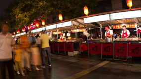 Donghuamen snack street at night HD. stock video footage