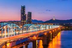 Dongjak Bridge Han river in Seoul , South Korea Royalty Free Stock Photo