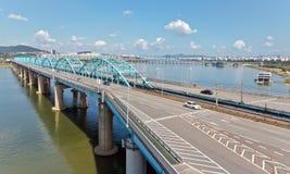 Dongjak bro över den Han floden Royaltyfri Fotografi