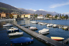 Dongo harbour and the lake, Como, Italy Stock Image