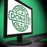 Doni donare di manifestazioni di computer e raccogliersi fondi caritatevoli Immagini Stock Libere da Diritti