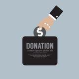 Doni i soldi al concetto della carità Immagini Stock