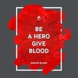 Doni il manifesto di informazioni di motivazione del sangue Fotografia Stock