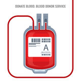 Doni l'illustrazione rossa di vettore dell'icona del sacchetto di plastica di servizio del donatore di sangue isolata Immagine Stock Libera da Diritti