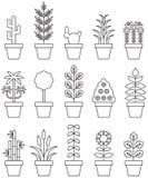 Doniczkowy rośliny ikony set Obrazy Royalty Free