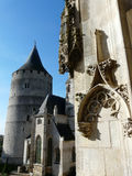 The donjon of Chateaudun castle. This is a view of the donjon and the church of chateaudun castle from the renaissance stairs in france stock photos