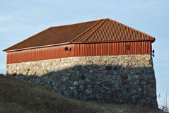 Donjon at Fredriksten fortress. This tower from 1683 is a forward artillery position. In war the wooden roof removed and 3-4 cannons stood ready below. It is a Stock Image
