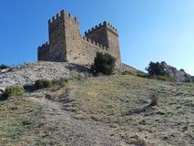 Donjon of the Genoese fortress. Summer, Genoese, Sudak, Crimea, green, castle royalty free stock photo