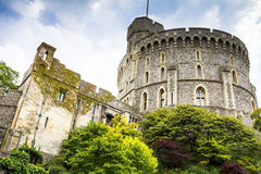 Donjon - the great tower or innermost keep of a Medieval Windsor Castle. Windsor Castle is a royal residence at Windsor in the English county of Berkshire. It royalty free stock photo