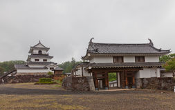 Donjon and Main Gate of Shiroishi Castle, Japan Stock Photos