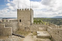 Donjon the tallest tower of Sesimbra castle. Setubal district, Portugal royalty free stock image
