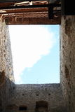 Donjon tower. Of Castle Rabi (Czech Republic) with wooden stairs and sky above stock photos