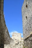 Donjon tower with surrounding wall Stock Photos