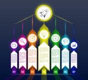 Donker abstract infographicsmalplaatje met pijlen Zwarte infograp Royalty-vrije Stock Fotografie