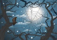 Donker achtervolgd bos in de volle maannacht stock illustratie