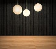 Donker binnenland met lampen 3D Illustratie stock illustratie