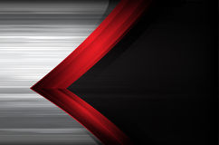 Donker chroom geborsteld staal en de rode samenvatting van het overlappingselement backg vector illustratie