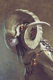 Donker fantasie menselijk schepsel met gekrulde hoornen royalty-vrije illustratie