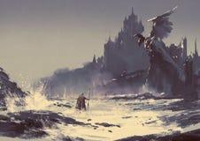 Donker fantasiekasteel royalty-vrije illustratie