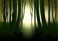 Donker geheimzinnig bos vector illustratie