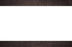 Donker gekrast houten kader, aanplakbord of witte horizontale rechthoek royalty-vrije stock foto