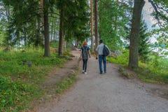 Donker-haired mens op middelbare leeftijd en roodharige jonge damegang langs bosweg Toeristen op de mooie landschapsachtergrond royalty-vrije stock afbeeldingen