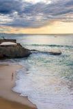 Donker het worden in het strand van Biarritz Stock Foto's