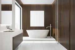 Donker houten badkamersbinnenland, ton, affiche Stock Fotografie