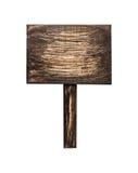 Donker houten die teken, op wit wordt geïsoleerd Stock Afbeeldingen