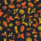 Donker insecten naadloos patroon Royalty-vrije Stock Afbeeldingen