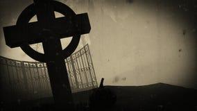 Donker kasteel op een Kerkhof Oude filmgevolgen Halloween Royalty-vrije Stock Afbeeldingen