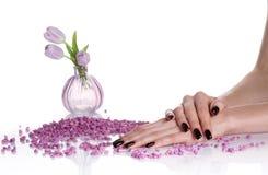 Donker manicure en lilac spa stilleven Royalty-vrije Stock Afbeeldingen