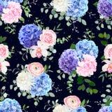 Donker marineblauw vector bloemenpatroon vector illustratie