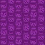 Donker naadloos patroon met de pruimjampotten Royalty-vrije Stock Afbeeldingen