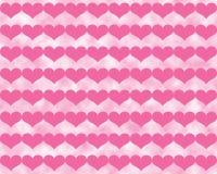 Donker Roze Valentine Hearts op Bewolkte Lichtrose Achtergrond Royalty-vrije Stock Foto