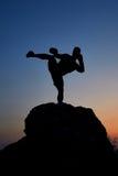 Donker silhouet van een spier mannelijke bokser in openlucht op zonsondergang Stock Afbeeldingen