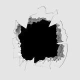 Donker vernietiging gebarsten gat in witte steenmuur vector illustratie