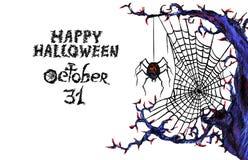 Donker Web met spin & x22; Gelukkige Halloween& x22; Royalty-vrije Stock Afbeelding