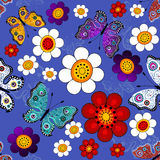 Donkerblauw bloemen naadloos patroon Stock Foto's