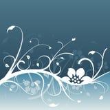 Donkerblauw bloemenontwerp Stock Afbeeldingen