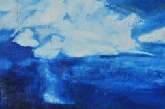 Donkerblauw en wit patroon op het canvas stock afbeelding