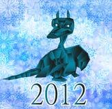 Donkerblauw fantastisch draak-symbool 2012 Nieuwjaren. Royalty-vrije Stock Afbeelding