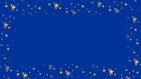 Donkerblauw geanimeerd kader met opvlammende sterren en exemplaarruimte, Kerstmis of nieuwe jaarachtergrond royalty-vrije illustratie