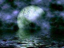 Donkerblauw Maan & Water Royalty-vrije Stock Foto's