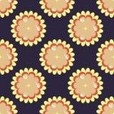Donkerblauw naadloos patroon met gele bloemen Stock Afbeelding