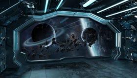 Donkerblauw ruimteschip futuristisch binnenland met venstermening bij ruimte en planeten het 3d teruggeven vector illustratie