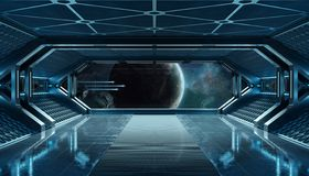 Donkerblauw ruimteschip futuristisch binnenland met venstermening bij ruimte en planeten het 3d teruggeven stock illustratie