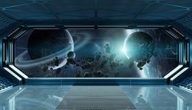 Donkerblauw ruimteschip futuristisch binnenland met venstermening bij ruimte en planeten het 3d teruggeven royalty-vrije illustratie