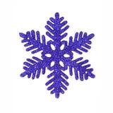Donkerblauw schitter sneeuwvlok Stock Afbeeldingen