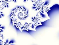 Donkerblauw wit contrast abstract fractal art. Glanzende illustratie als achtergrond met mooie blad of bloemblaadjestructuren en  Royalty-vrije Stock Afbeeldingen